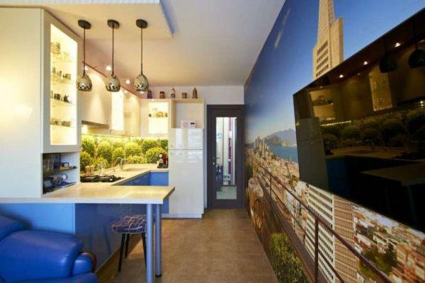 3д фотообои в интерьере кухни с городом