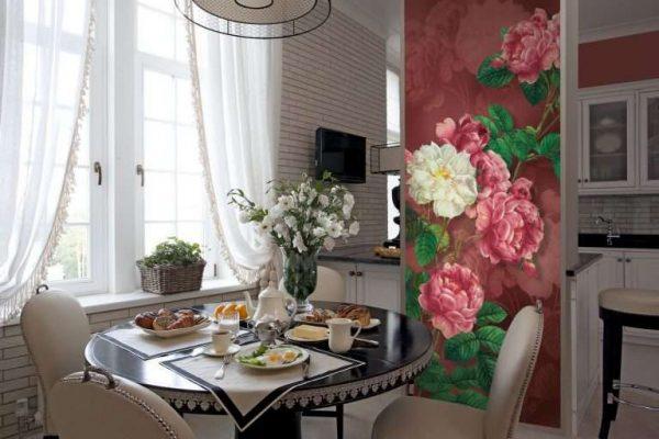 3д фотообои в интерьере кухни с цветами