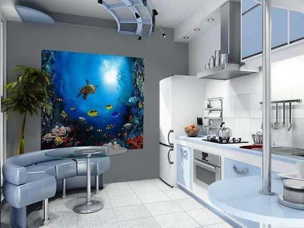 3D фотообои на стене кухни