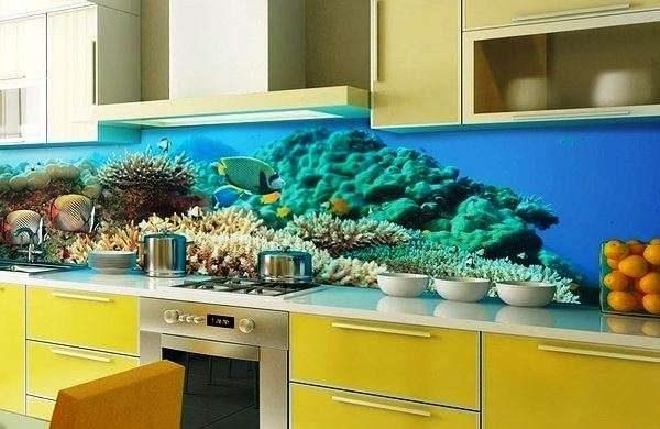 3д фотообои на фартуке кухни
