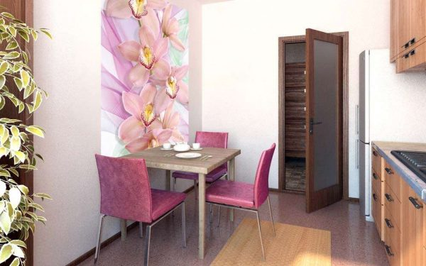 3д фотообои с цветами на кухне