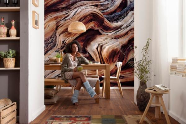 футуристические 3д фотообои в интерьере кухни