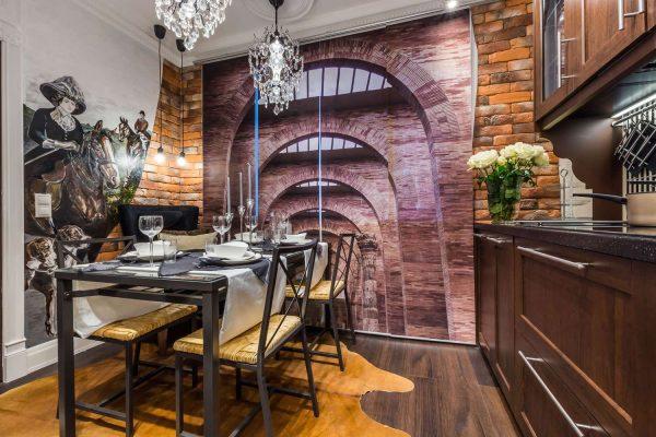 3д фотообои в интерьере кухни