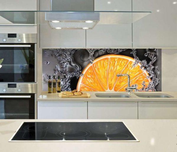 3д фотообои на фартуке в интерьере кухни