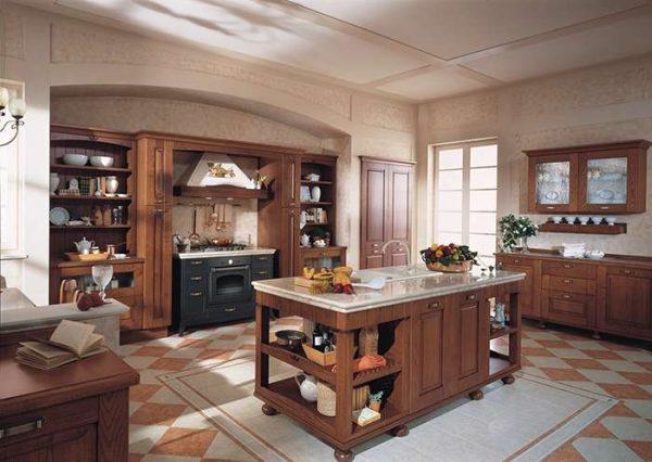 полы из кафеля на кухне в итальянском стиле