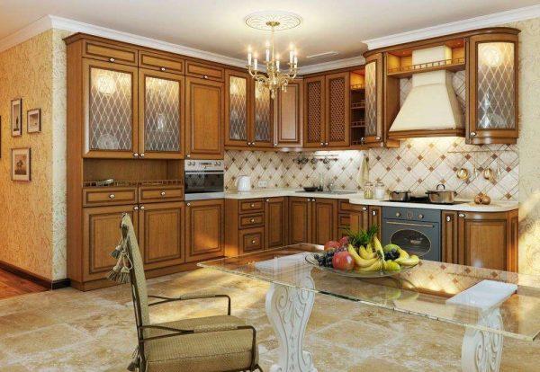 угловая кухня из дерева в итальянском стиле