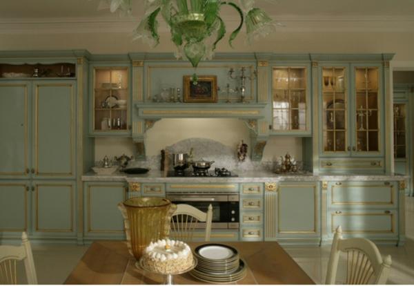 голубая кухня в итальянском стиле