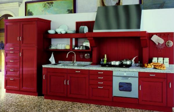 кухня вишнёвого цвета