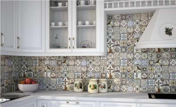 полуматовая плитка на кухне