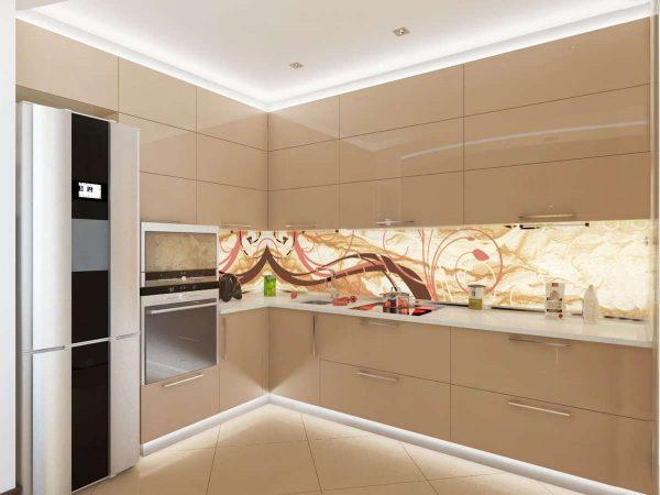 угловая кухня кофе с молоком с белым потолком с подсветкой