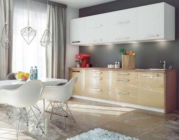 светильники стильные на кухне цвета кофе с молоком с глянцевыми фасадами