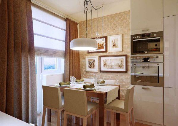 обеденный стол на кухне цвета кофе с молоком с глянцевыми фасадами