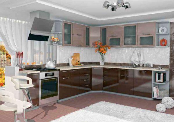 верхние шкафы кофе с молоком, а нижние шоколадного оттенка на кухне