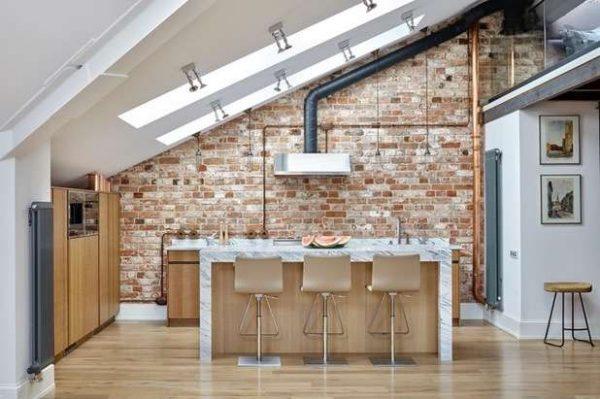 кухня лофт без навесных шкафов
