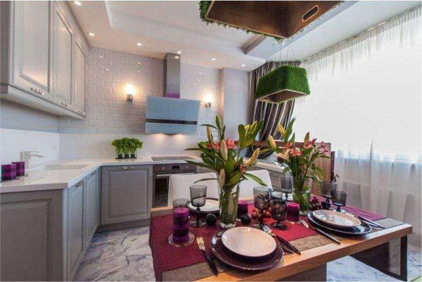 серая кухня без навесных шкафчиков