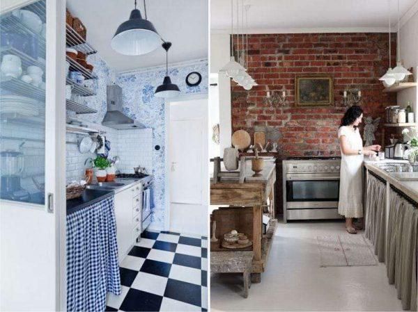 кухня в стиле прованс и кантри без верхних шкафов
