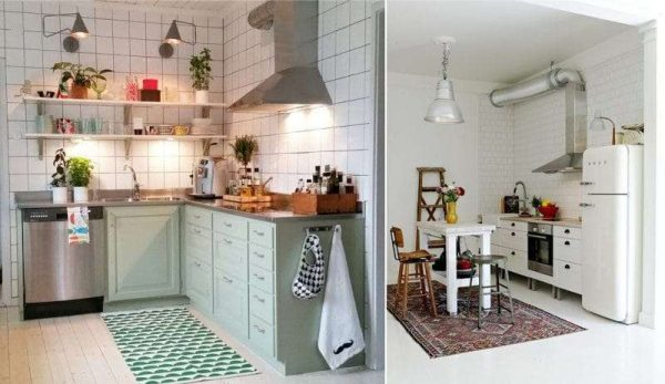 кухня светлая без навесных шкафов