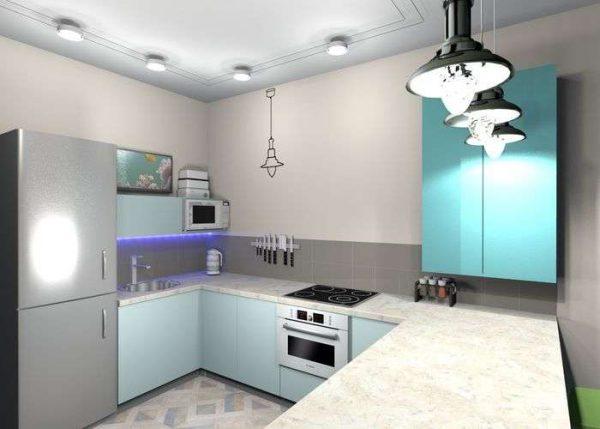 П-образная кухня без верхнего яруса