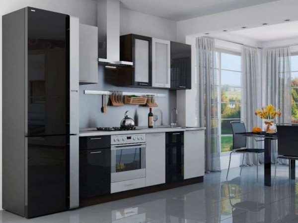 кухонный гарнитур чёрно белый линейный