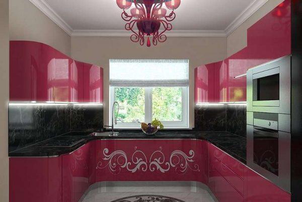 красная П образная кухня