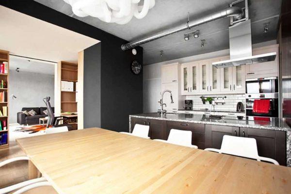 линейный кухонный гарнитур лофт