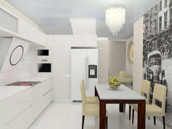 белый кухонный гарнитур со столом