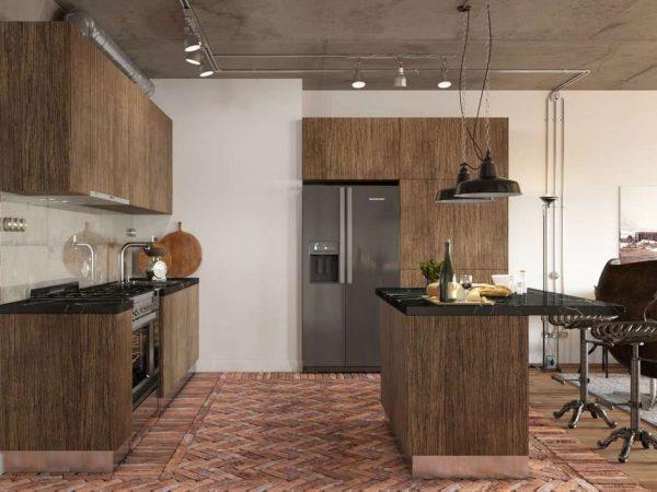 деревянный кухонный гарнитур с островом