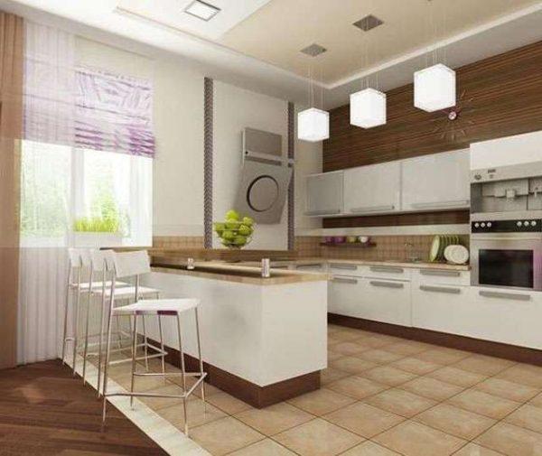 дизайн кухни С-образной с островом
