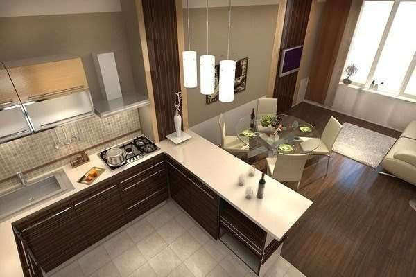 дизайн кухни с зонированием барной стойкой