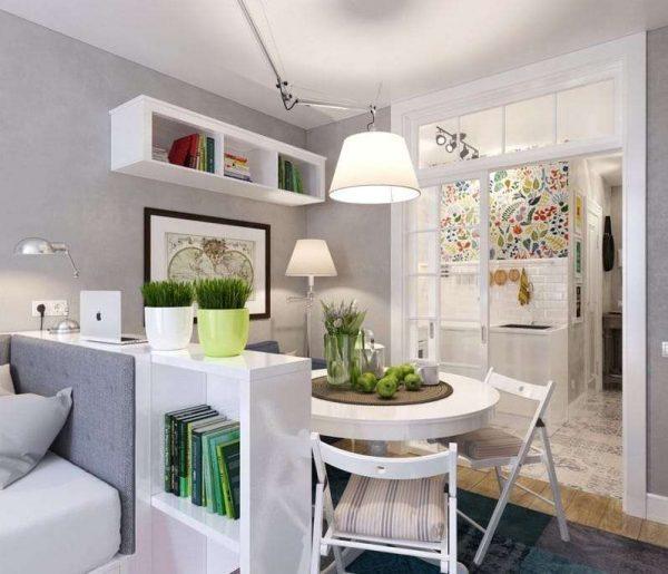 дизайн кухни с зонированием с помощью перегородки