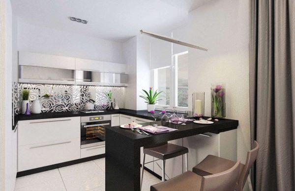 дизайн кухни в квартире студии с барной стойкой