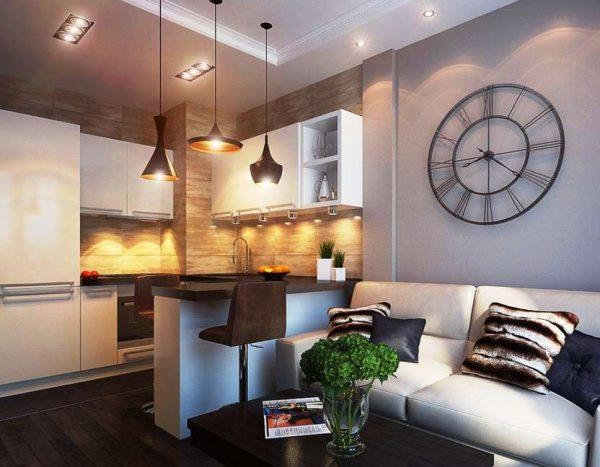 дизайн кухни с зонированием освещением