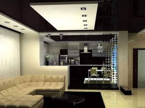 дизайн кухни с зонированием потолком
