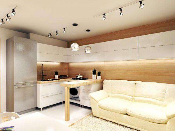 дизайн кухни с белым диваном