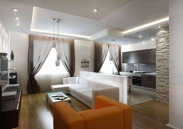 дизайн кухни совмещённой с залом