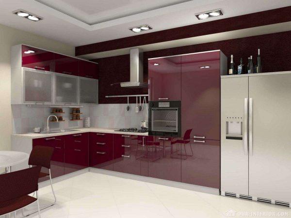 дизайн фиолетовой угловой кухни