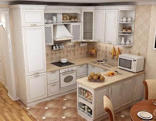 дизайн кухни с П-образной кухней
