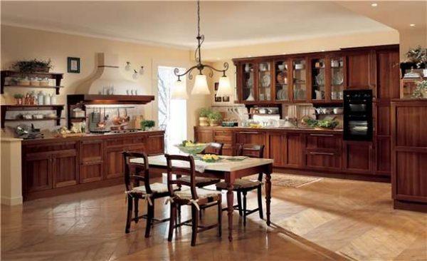 кухня-гостиная в деревенском современном стиле