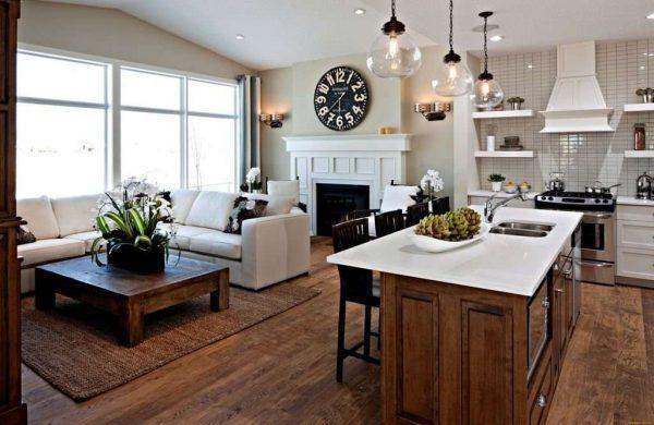стильный интерьер кухни гостиной с островом