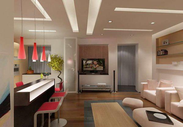 кухня-гостиная с барной стойкой и светильниками