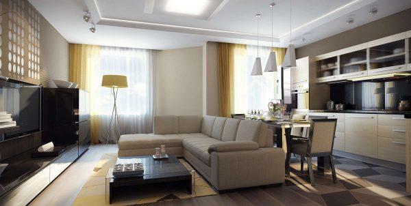 кухня-гостиная с угловым бежевым диваном