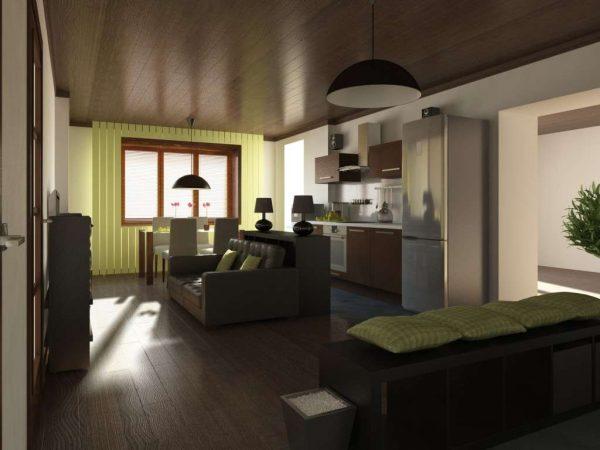 кухня-гостиная с зелёным декором