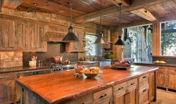 кухня из дерева своими руками в деревянном доме