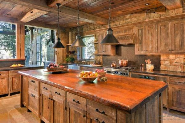 деревянная кухня своими руками с островом