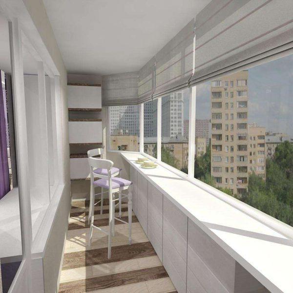 белый потолок на кухне на балконе или лоджии