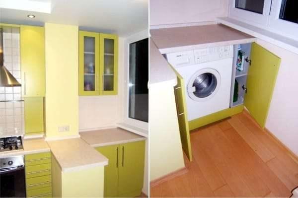обустройство на балконе кухни со стиральной машиной