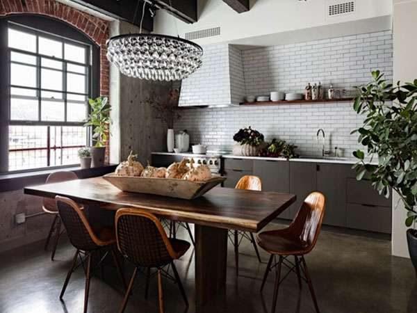 интерьер простой кухни в стиле лофт