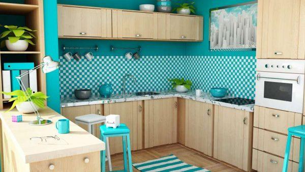 интерьер простой голубой кухни с мебелью