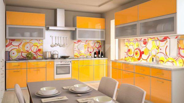 жёлтая кухня на две стены