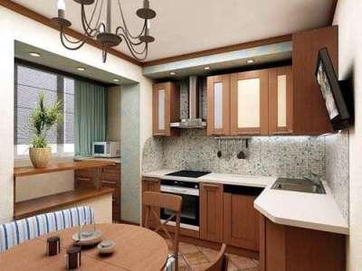 бытовая техника на балконе, совмещённом с кухней